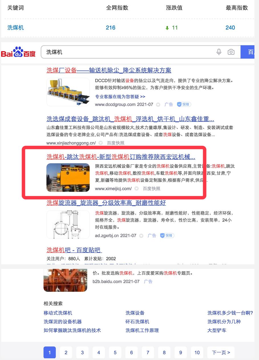 洗煤机行业超大词seo排名一直排名首页
