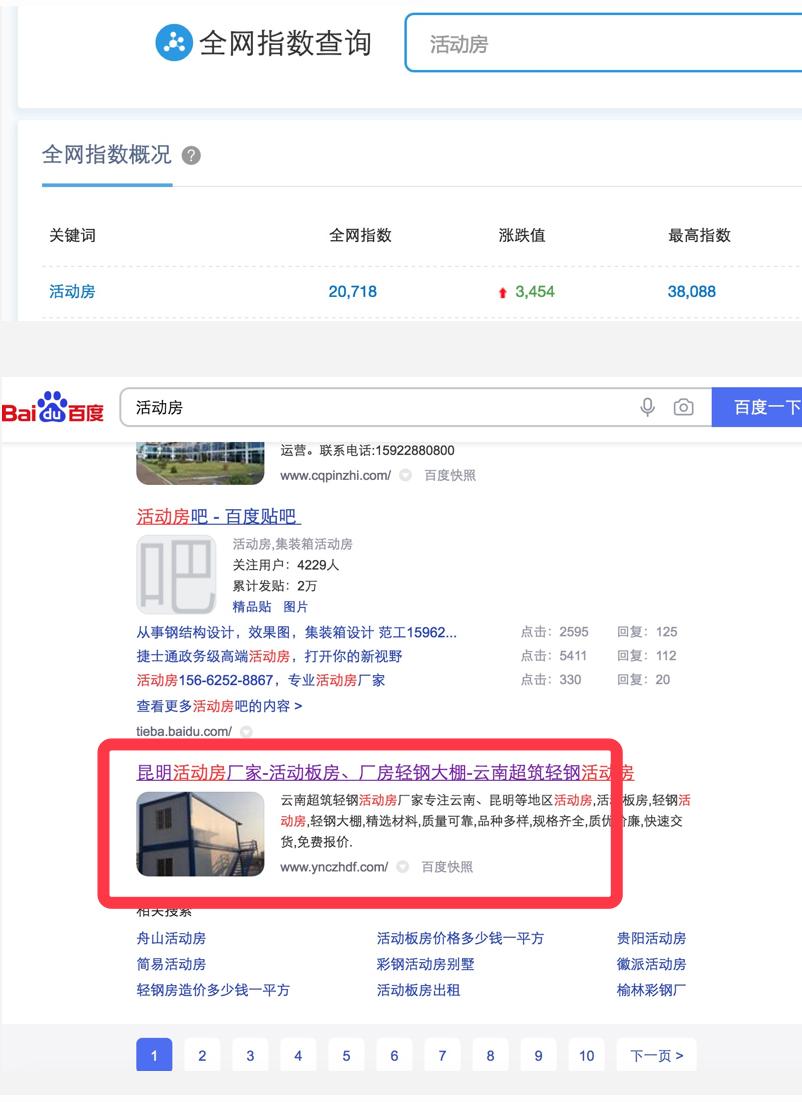 活动房seo裸词全网指数20718一直排名在首页